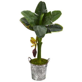 33 Banana Artificial Tree in Vintage Metal Pail - SKU #T1184