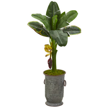 35 Banana Artificial Tree in Vintage Metal Planter - SKU #T1185