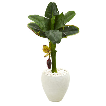 35 Banana Artificial Tree in White Planter - SKU #T1186