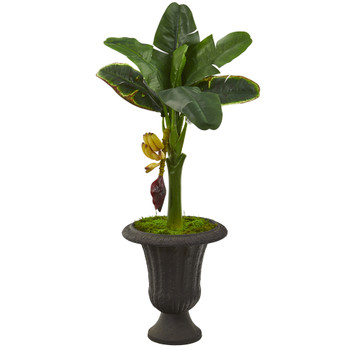 38 Banana Artificial Tree in Charcoal Urn - SKU #T1187