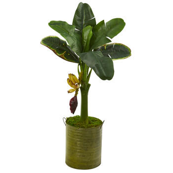 35 Banana Artificial Tree in Green Planter - SKU #T1188