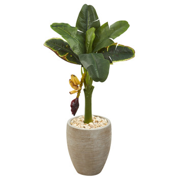 36 Banana Artificial Tree in Sand Colored Planter - SKU #T1189