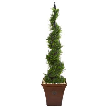 4.5 Cypress Artificial Spiral Tree in Brown Planter - SKU #T1190