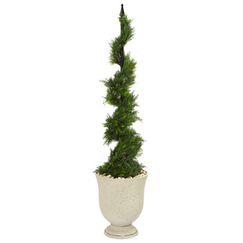 58 Cypress Artificial Spiral Topiary Tree in Decorative Urn - SKU #T1191