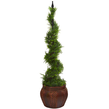 4.5 Cypress Artificial Spiral Topiary Tree in Decorative Planter - SKU #T1192
