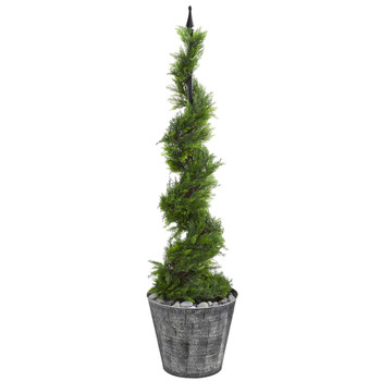 53 Cypress Artificial Spiral Topiary Tree in Black Embossed Tin Planter - SKU #T1193