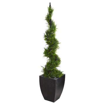 5 Cypress Artificial Spiral Topiary Tree in Black Planter - SKU #T1194