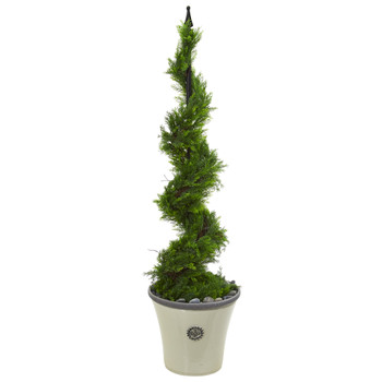 4.5 Cypress Artificial Spiral Topiary Tree in Decorative Planter - SKU #T1195