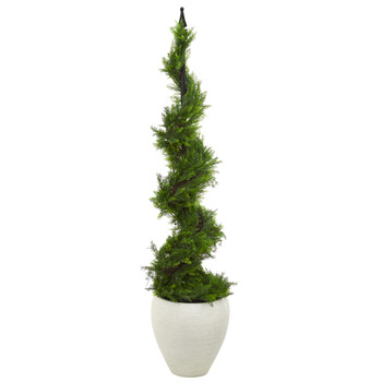 4.5 Cypress Artificial Spiral Topiary Tree in White Planter - SKU #T1196