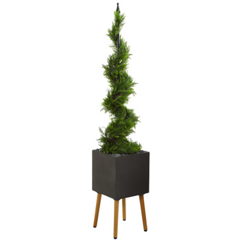 5.5 Cypress Artificial Spiral Topiary Tree in Black Planter with Stand - SKU #T1197