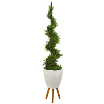6 Cypress Artificial Spiral Topiary Tree in White Planter with Stand - SKU #T1198