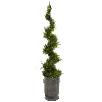 58 Cypress Artificial Spiral Topiary Tree in Vintage Metal Planter - SKU #T1199