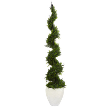 5.5 Cypress Artificial Spiral Tree in White Planter - SKU #T1208