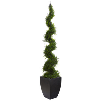 70 Cypress Artificial Spiral Tree in Black Planter - SKU #T1209