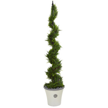 64 Cypress Artificial Spiral Tree in Decorative Planter - SKU #T1210