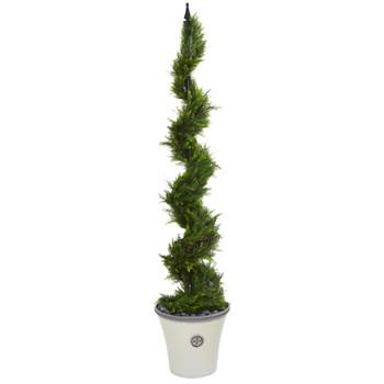64 Cypress Artificial Spiral Tree in Decorative Planter - SKU #T1210