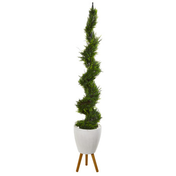 75 Cypress Artificial Spiral Tree in White Planter with Stand - SKU #T1211