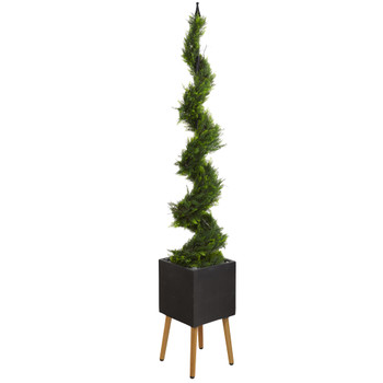 75 Cypress Artificial Spiral Tree in Black Planter with Stand - SKU #T1212