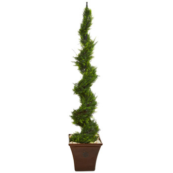 5.5 Cypress Artificial Spiral Tree in Brown Planter - SKU #T1213