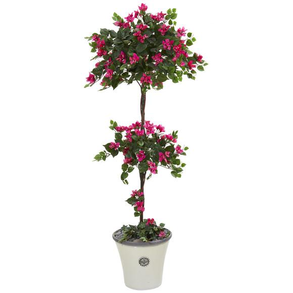 5 Bougainvillea Artificial Topiary Tree in Decorative Planter - SKU #T1215