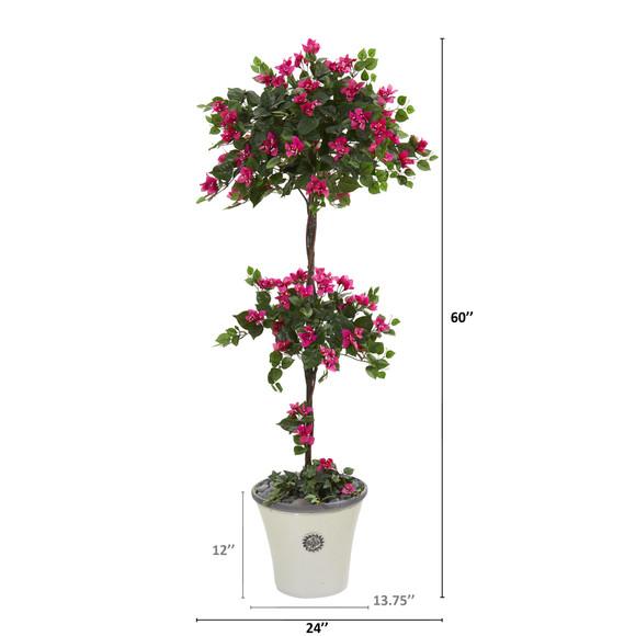 5 Bougainvillea Artificial Topiary Tree in Decorative Planter - SKU #T1215 - 1