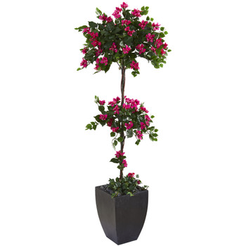 63 Bougainvillea Artificial Topiary Tree in Black Planter - SKU #T1216