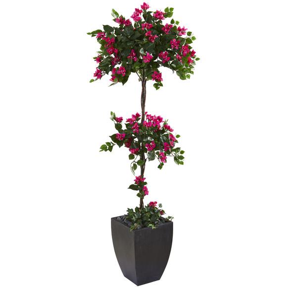63 Bougainvillea Artificial Topiary Tree in Black Planter - SKU #T1216