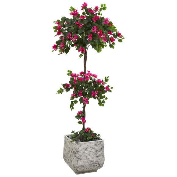 5 Bougainvillea Artificial Topiary Tree in White Planter - SKU #T1217