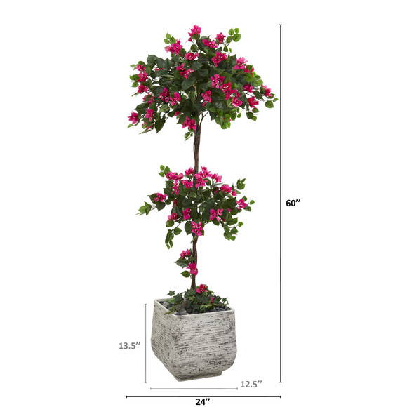 5 Bougainvillea Artificial Topiary Tree in White Planter - SKU #T1217 - 1