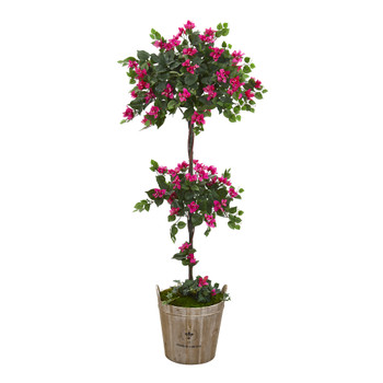 64 Bougainvillea Artificial Topiary Tree in Farmhouse Planter - SKU #T1218