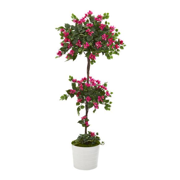 5 Bougainvillea Artificial Topiary Tree in White Tin Planter - SKU #T1219