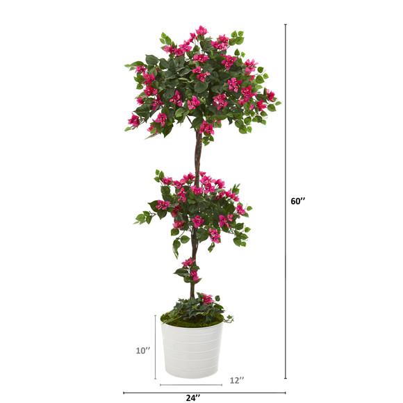 5 Bougainvillea Artificial Topiary Tree in White Tin Planter - SKU #T1219 - 1