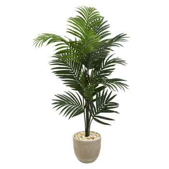 62 Kentia Artificial Palm Tree in Sandstone Planter - SKU #T1220