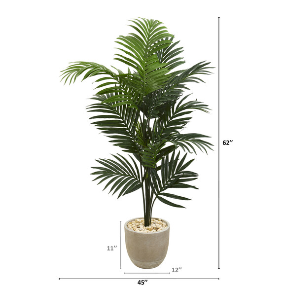62 Kentia Artificial Palm Tree in Sandstone Planter - SKU #T1220 - 1