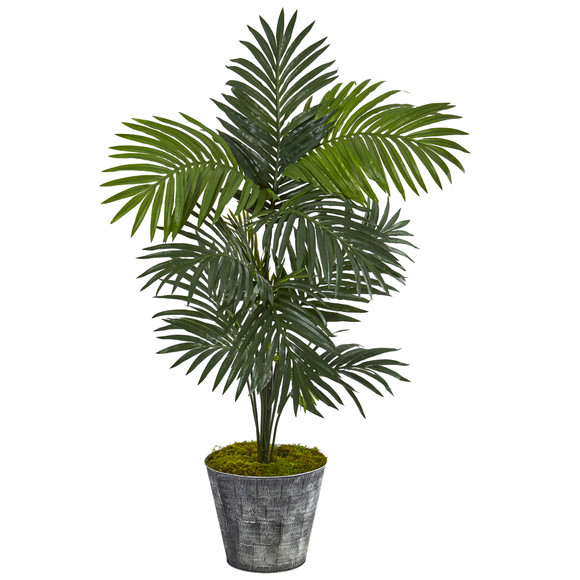 5 Kentia Artificial Palm Tree in Decorative Tin Bucket - SKU #T1221