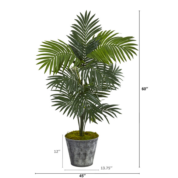5 Kentia Artificial Palm Tree in Decorative Tin Bucket - SKU #T1221 - 1