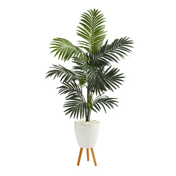 69 Kentia Artificial Palm Tree in White Planter with Stand - SKU #T1222
