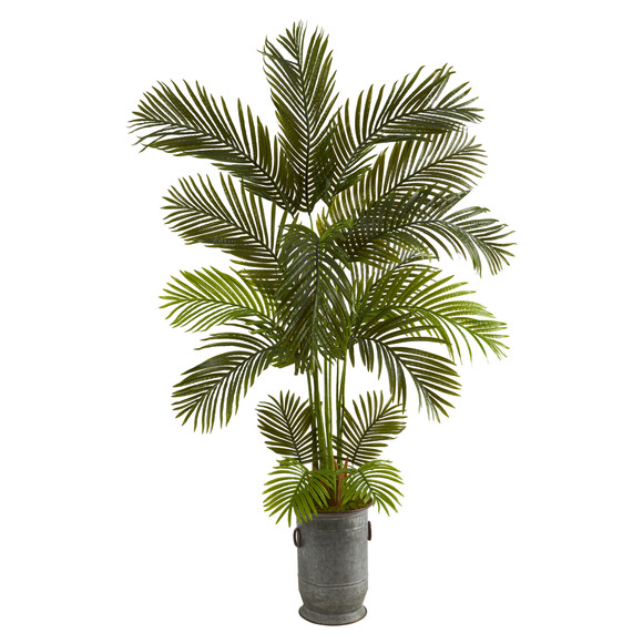 5.5 Areca Palm Artificial Tree in Vintage Metal Planter - SKU #T1235