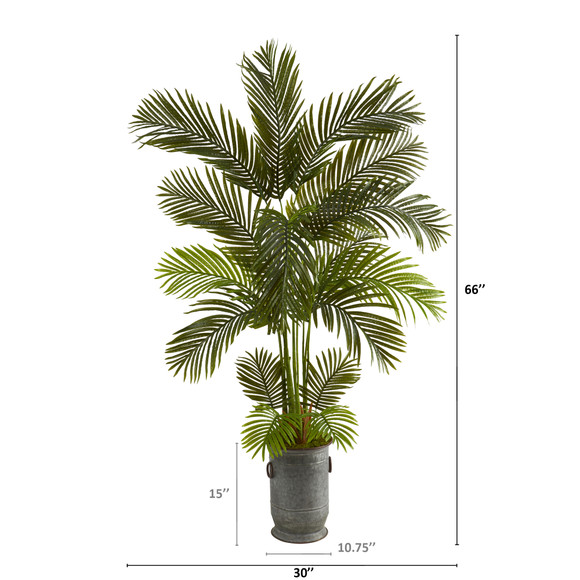 5.5 Areca Palm Artificial Tree in Vintage Metal Planter - SKU #T1235 - 1