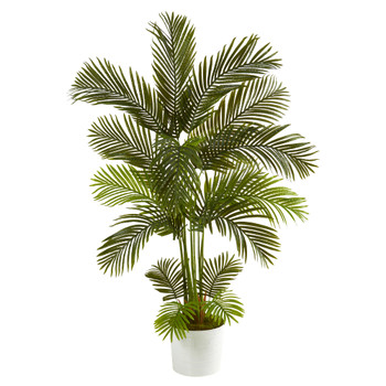5.5 Areca Palm Artificial Tree in White Tin Planter - SKU #T1237