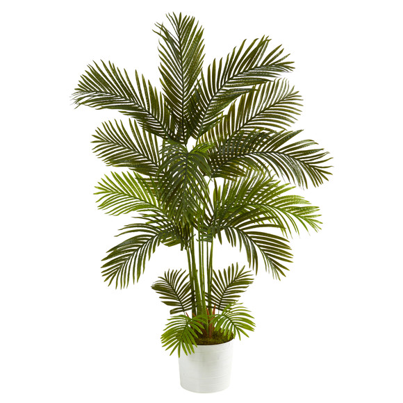 5.5 Areca Palm Artificial Tree in White Tin Planter - SKU #T1237