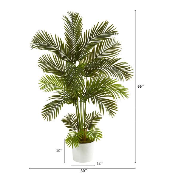 5.5 Areca Palm Artificial Tree in White Tin Planter - SKU #T1237 - 1