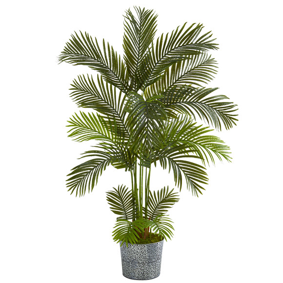 5.5 Areca Palm Artificial Tree in Embossed Black Tin Planter - SKU #T1238