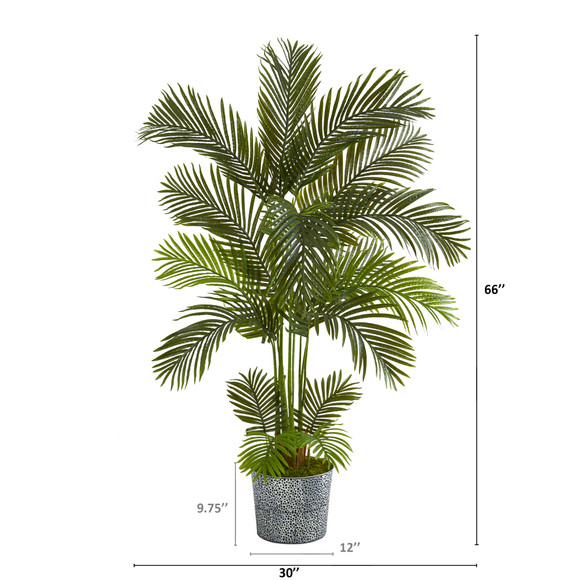5.5 Areca Palm Artificial Tree in Embossed Black Tin Planter - SKU #T1238 - 1