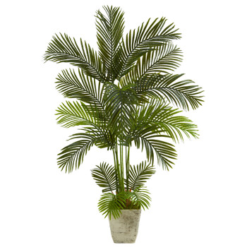 63 Areca Palm Artificial Tree in Country White Planter - SKU #T1239