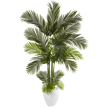 65 Areca Palm Artificial Tree in White Planter - SKU #T1241