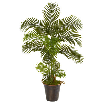 5 Areca Palm Artificial Tree in Decorative Metal Pail with Rope - SKU #T1243