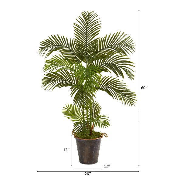 5 Areca Palm Artificial Tree in Decorative Metal Pail with Rope - SKU #T1243 - 1