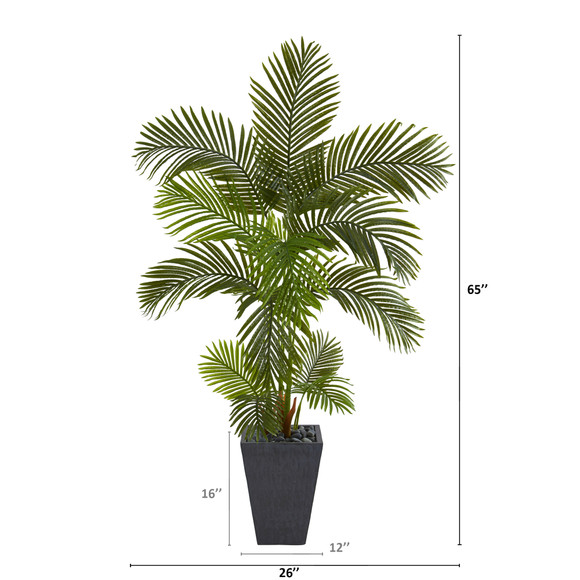 65 Areca Palm Artificial Tree in Slate Planter - SKU #T1244 - 1