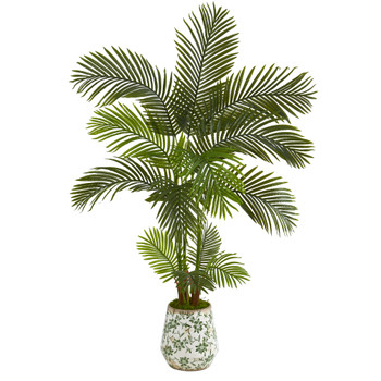 5 Areca Palm Artificial Tree in Floral Print Planter - SKU #T1246